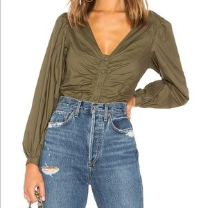 Lovers + Friends Greer Blouse in Olive.